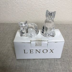 Lenox Cats Glass Salt and Pepper Shakers